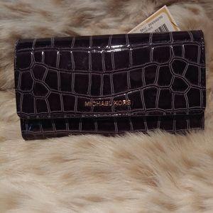 Michael Kors Black Crocodile-Embossed Wallet